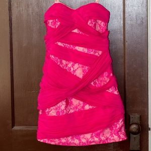 NWOT Express Strapless Prom/Formal Dress Pink Sz 0